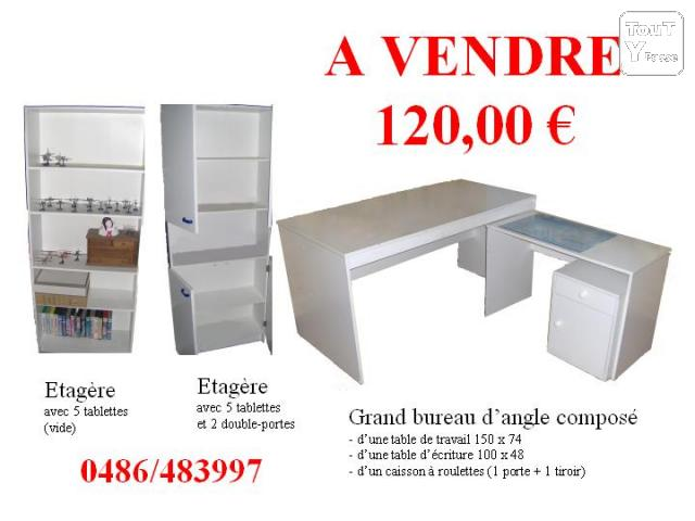 a vendre grand bureau blanc en l 2 tag res blanches le roeulx 7070. Black Bedroom Furniture Sets. Home Design Ideas