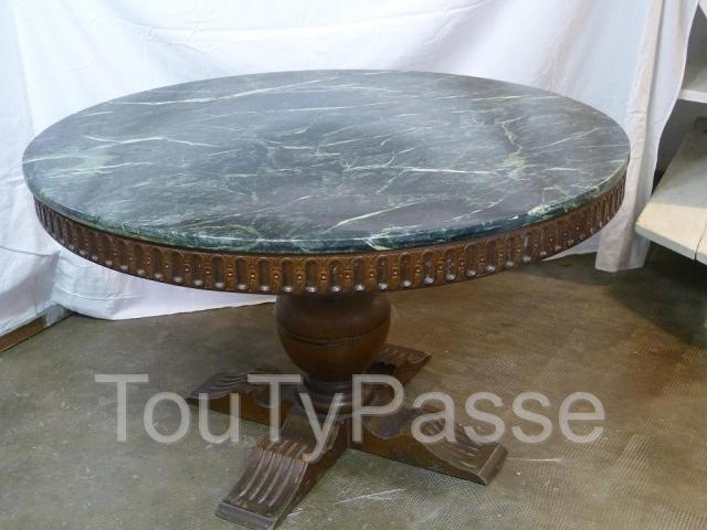 Antique table basse de salon ronde ch ne massif plaque - Table de salon antique ...