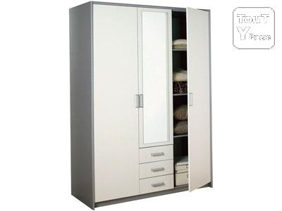 armoire grise et blanche bon tat paris 17 batignolles monceau 75017. Black Bedroom Furniture Sets. Home Design Ideas