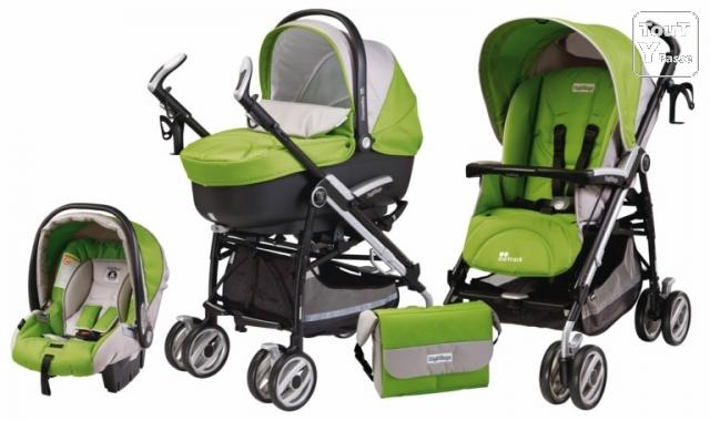 photo de BebeQO poussette combinée Peg-Perego Pliko P3 green tea