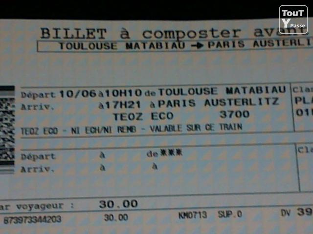 Billet de train prem 39 s - Billet avion nantes toulouse ...