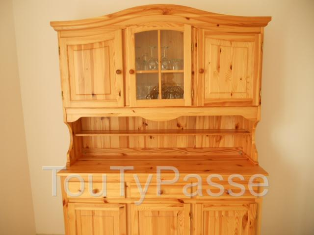 buffet cuisine pin massif teint naturel 2 parties. Black Bedroom Furniture Sets. Home Design Ideas