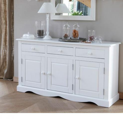 Buffet enfilade 3 portes en pin massif blanc paris 20 for Meuble enfilade blanc