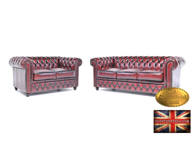 photo de Canapé Chesterfield Antique rouge bordeaux 3+2