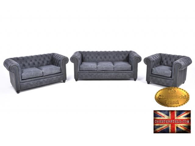 photo de Canapé Chesterfield Vintage Noir 3+1+1