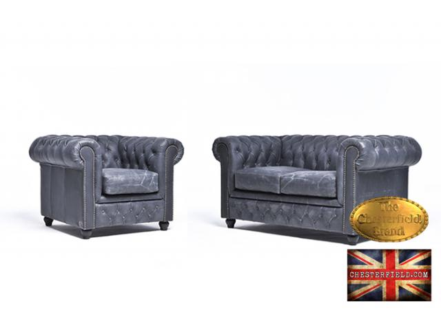 photo de Canapé Original Chesterfield Vintage Noir 2+1