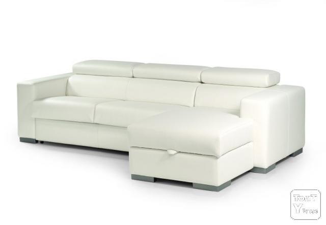 Canap d 39 angle convertible sidney cuir 140cm rapido blanc for Canape convertible couchage journalier