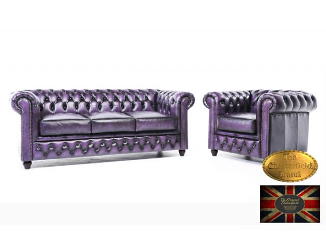 photo de Chesterfield Canapé Antique Violet 1 +3
