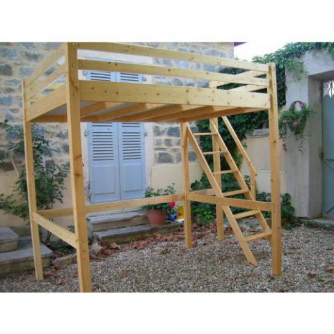 Table rabattable cuisine paris lit mezzanine 2 places bois - Lit mezzanine 2 places en bois ...
