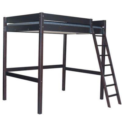lit mezzanine bois laqu noir 2 places paris. Black Bedroom Furniture Sets. Home Design Ideas