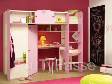 lit mezzanine rose pour fille paris. Black Bedroom Furniture Sets. Home Design Ideas