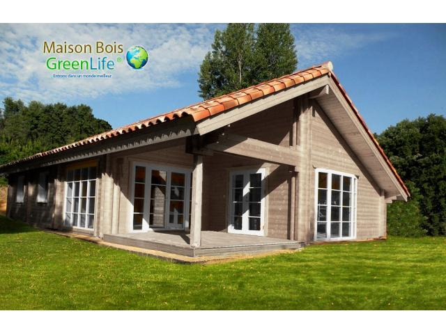 Maison bois greenlife 114 m2 3ch en double madriers 2x58mm livr e en kit r - Maison ecologique en kit ...