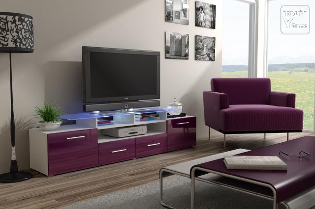 meuble tv design modele smart violet neuf le de france. Black Bedroom Furniture Sets. Home Design Ideas