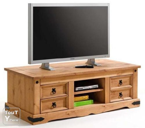 meuble tv hifi en pin mexicain le de france. Black Bedroom Furniture Sets. Home Design Ideas