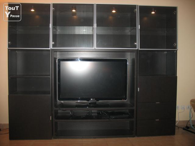 meuble tv noir avec clairage int gr sainte genevi ve 60730. Black Bedroom Furniture Sets. Home Design Ideas