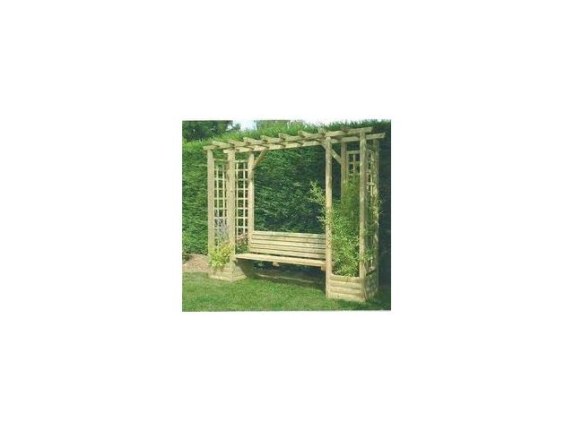 pergola bois avec banc et jardinieres pas chere gard. Black Bedroom Furniture Sets. Home Design Ideas
