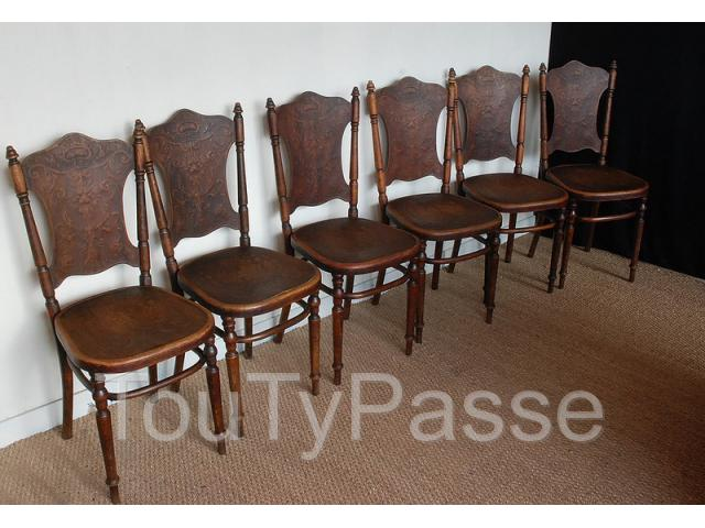 photo de Superbe lot de 6 chaises de bistrot café ancienne Fishel ( thonet )