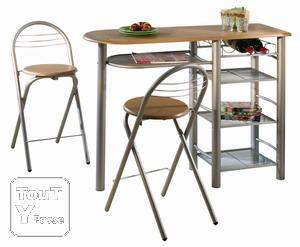 Table bar et ses 2 tabourets pliants le de france - Ikea table haute bar ...