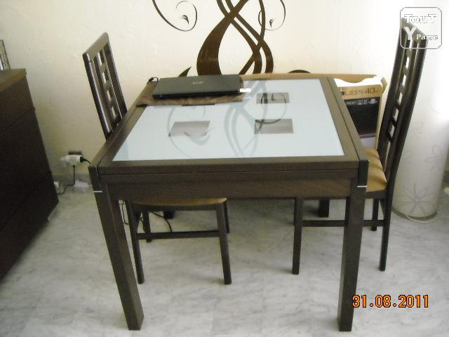 table carree avec 1 allonge 4 chaises wenge bon etat alpes maritimes. Black Bedroom Furniture Sets. Home Design Ideas