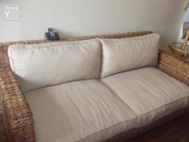 Vends canap 3 places en rotin et divan lit lit king size paris 05 panth on - Canape convertible en rotin ...