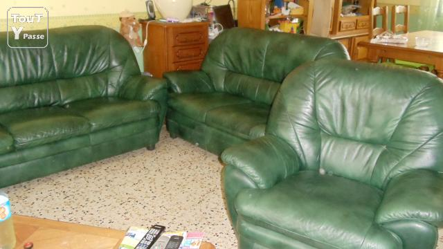 vends canapes cuir vert bouteille languedoc roussillon. Black Bedroom Furniture Sets. Home Design Ideas
