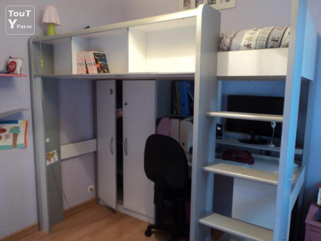 Combin lit mezzanine armoire bureau m rignac 33700 for Photo lit mezzanine