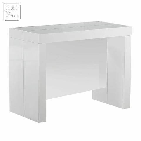 Console extensible space rallonges int gr es laqu e blanche for Table extensible avec rallonges integrees