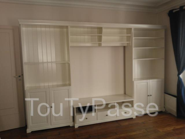 meuble t l avec rangement 2 biblioth ques blanc ikea. Black Bedroom Furniture Sets. Home Design Ideas