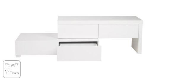Meuble tv laqu blanc alin a modulable uchaud 30620 for Alinea meuble d angle