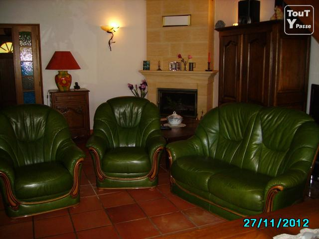vends salon cuir vert fonc canap 2 places 2 fauteuils argelers 66700. Black Bedroom Furniture Sets. Home Design Ideas