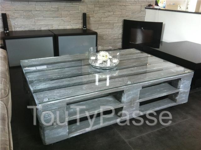 superbe table de salon style loft gris blanc lasur li ge. Black Bedroom Furniture Sets. Home Design Ideas