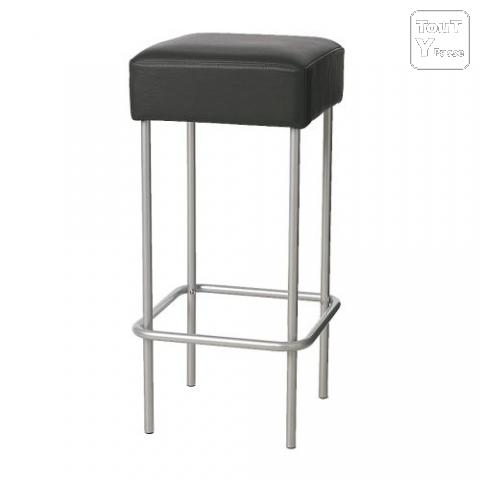 table de bar acier inox avec deux tabouret cuire plestan 22640. Black Bedroom Furniture Sets. Home Design Ideas