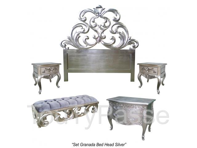 t te de lit baroque doree argent e blanche noire creus e gen ve. Black Bedroom Furniture Sets. Home Design Ideas