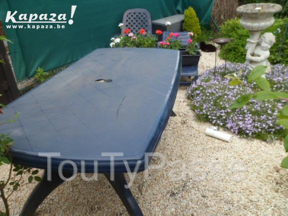 Table de jardin teck design for Table jardin bleu