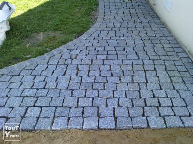 All s terrasses en pav s granit le de france for Terrasse en granit