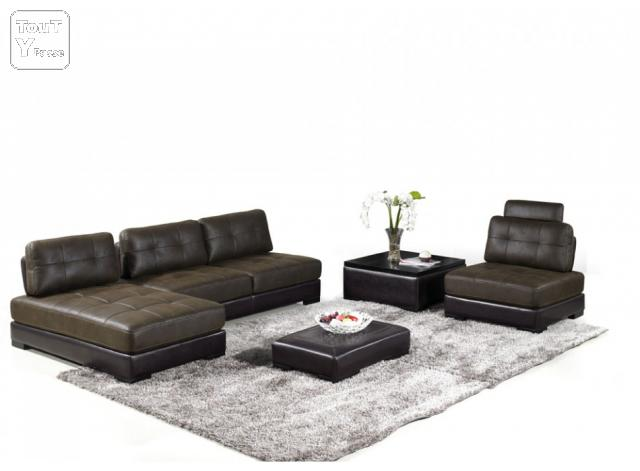 Canap complet modulable microfibre darwin chocolat 1200 for Canape salon complet